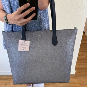 KATE SPADE LARGE JOELEY TOTE NAVY BLUE GLITTER